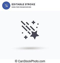 rempli, étoile filante, solide, signe, presentation., isolé, illustration., vecteur, icône, logo, plat, blanc, pictogramme