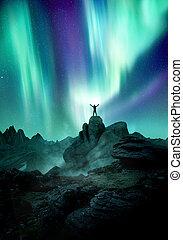 rempli, aurore, lumières, nord, ciel nuit