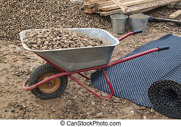 rempli, les, décombres, vue, tas, construction