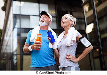 remplir de nouveau, couple, boissons, mûrir, hydrate, eau,...