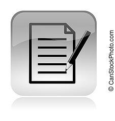 remplir, formulaire, et, document, toile, interface, icône