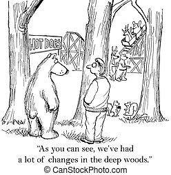 remplir, ours, bois, frais, dit, homme