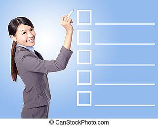 remplissage, femme, liste, chèque, business