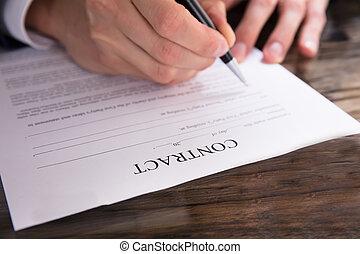 remplissage, personne affaires, contrat, formulaire