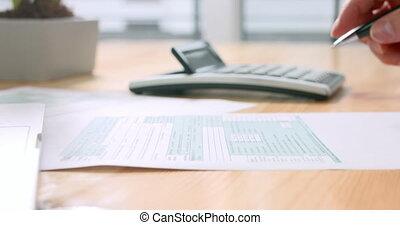 remplissage, personne, nous, formulaire, impôt