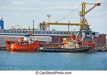 remplissage, port, (fuel, sous, tanker), soute, grue, bateau