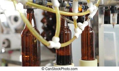 remplit, close-up., commandes, brasserie, opérateur, machine, bouteilles, beer., process., fond