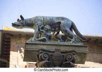 Remus and Romulas with wolf - Statue of Remus and Romulus...