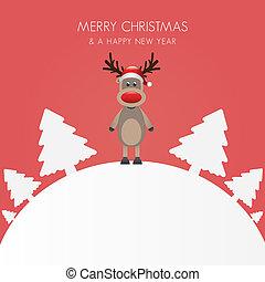 rena, árvore natal, fundo branco, mundo