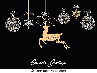 rena, baubles, cartão, snowflakes