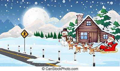 rena, cena, sleigh, santa