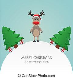 rena, chapéu, árvore, fundo branco, mundo