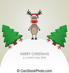 rena, chapéu, árvore natal, e, gif