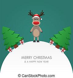 rena, chapéu, árvore natal, e, presente