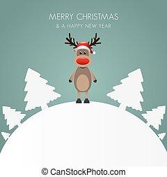 rena, chapéu, árvore natal, fundo branco
