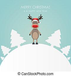rena, chapéu, árvore natal