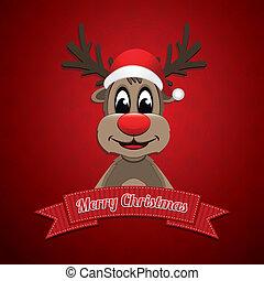rena, chapéu, fita, feliz natal