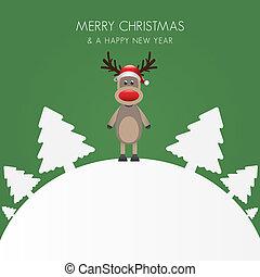rena, chapéu, natal, branca, árvore, b