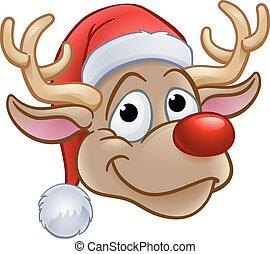 rena, chapéu, natal, santa