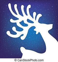 rena, estrelas, inverno, fundo, neve