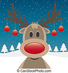 rena, nariz vermelho, e, natal, bolas