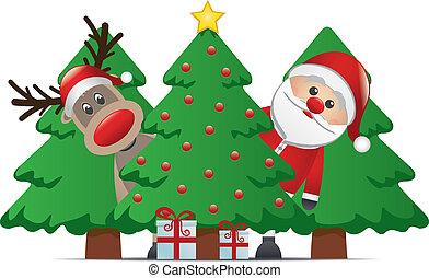 rena, papai noel, árvore natal, presente