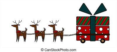 rena, vetorial, grande, cute, wheels., grande, gift., forma, nose., branca, harness., carreta, veado, ilustração, gifts;, vermelho, isolado, carregar, presente natal, experiência.