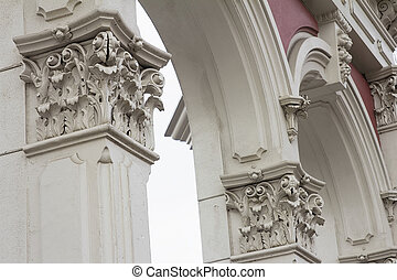 Renaissance Roman Architectural Column and Archway Historic Structure