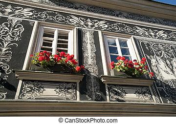 Renaissance architecture with Graffiti wall