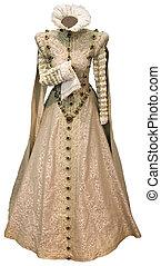 renaissance, coupure, robe, beige