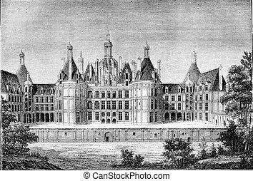 Renaissance Era, Chateau de Chambord, near Blois, vintage engraving.
