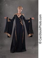Renaissance fashion beauty. Classical beauty in a fancy renaissance dress