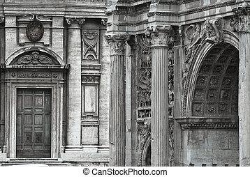 Renaissance - Graphical image of a roman arch and a...