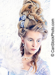 renaissance hairstyle - Beautiful young lady in a historical...