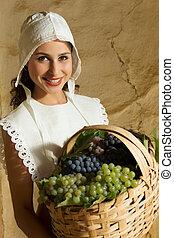 Renaissance peasant girl portrait