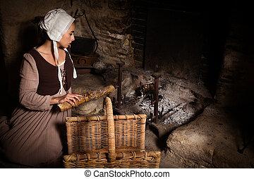 Renaissance portrait at fireplace