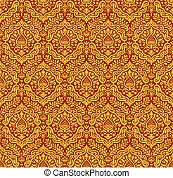 Renaissance style ornament - Red and yellow vector ornament...