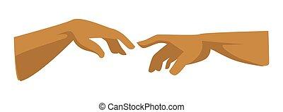 Renaissance symbol picture element human and god hands -...