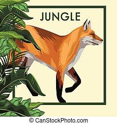 renard, animal, cadre, sauvage, pousse feuilles