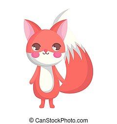renard, blanc, dessin animé, caractère, fond, mignon