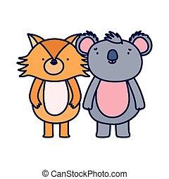 renard, caractère, heureux, koala, dessin animé, mignon