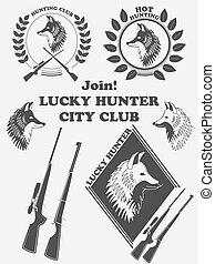renard, chasse, vendange, chanceux, étiquette, armes, vecteur, club.