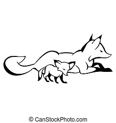 renard, courbe, lignes, signe