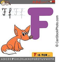 renard, dessin animé, lettre f