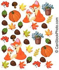 renard, modèle, fou, automne, vecteur, forrest, citrouille