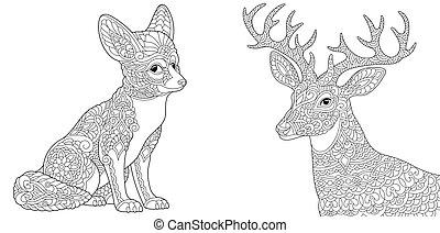 renard, pages, coloration, cerf