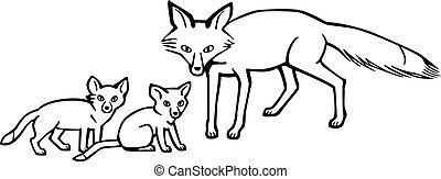 renard, petits, mère