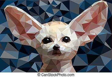 renard, poly, vecteur, illustration, fennec, bas