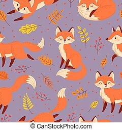 renards, mignon, automne, animal, pattern., orange, dessin animé, vecteur, renard, seamless, illustration
