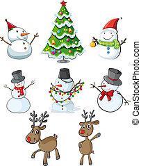 renas, árvore, bonecos neve, natal